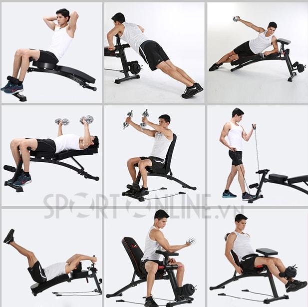 Các bài tập với ghế tập gym đa năng KK-021D