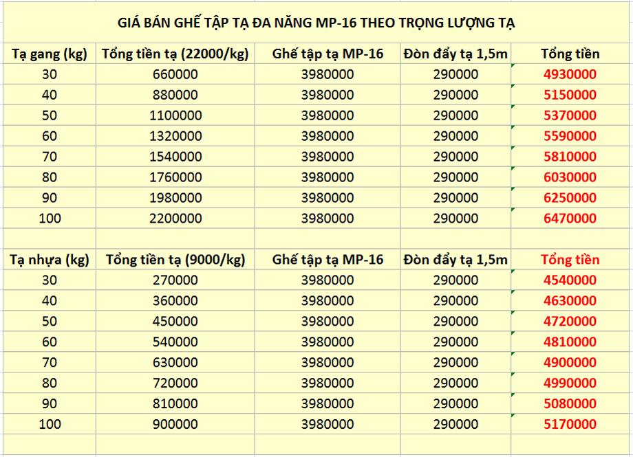 bảng giá giàn tạ đa năng mp-16