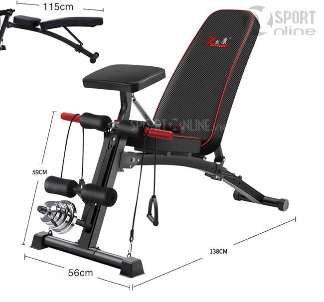 Kích thước sử dụng ghế tập gym KK-021D