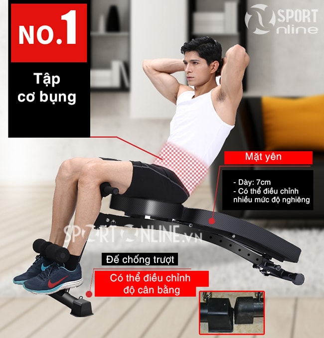 Tập cơ bụng với ghế tập gym đa năng KK-021D