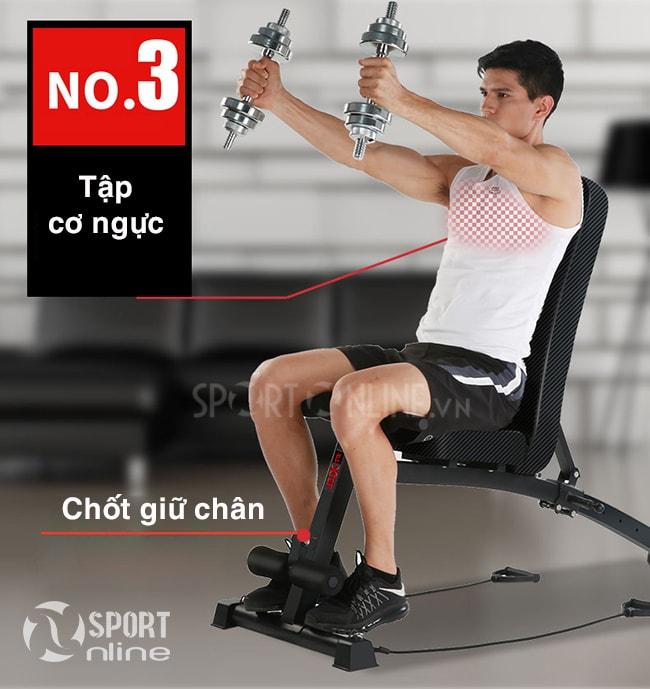 Tập cơ ngực với tạ đơn trên ghế tập gym KK-201D