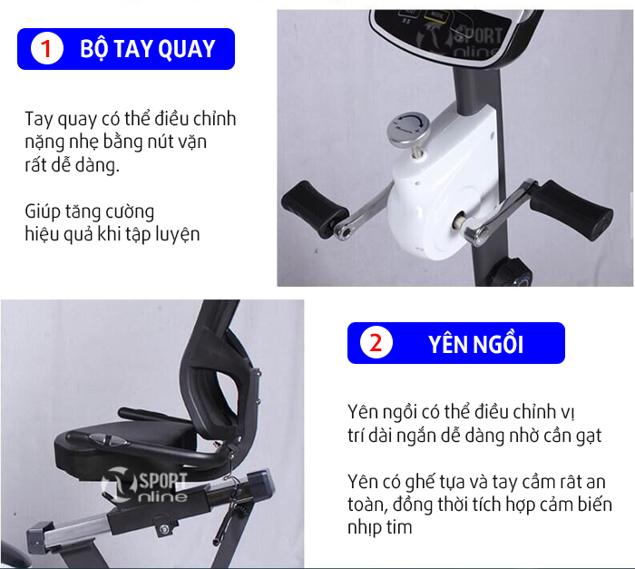 chi tiết Xe đạp tập thể dục D853