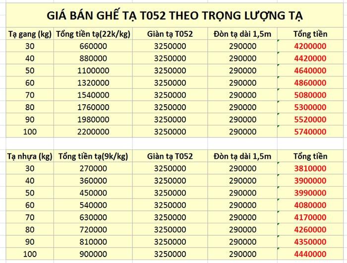 bảng giá bán chi tiết giàn tạ đa năng T052