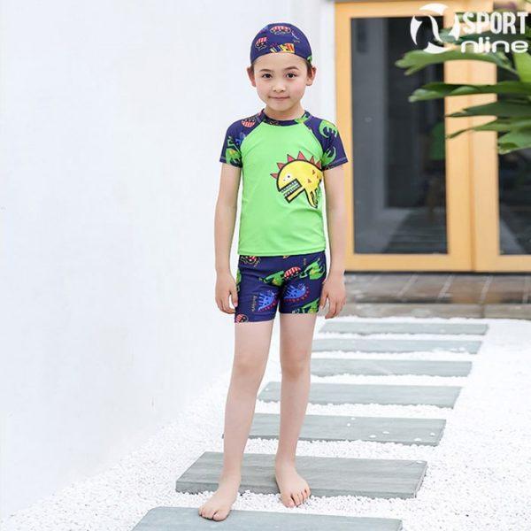 bộ quần áo bơi trẻ em M-818 màu xanh lá