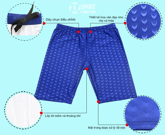chi tiết quần bơi lửng nam M-113