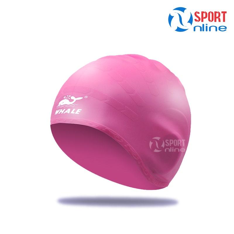 Mũ bơi trùm tai Whale màu hồng