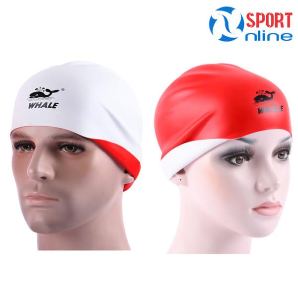Mũ bơi 2 mặt Whale CAP-1800 trắng đỏ