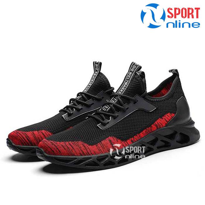 Giày thời trang thể thao nam TD19 đen phối đỏ